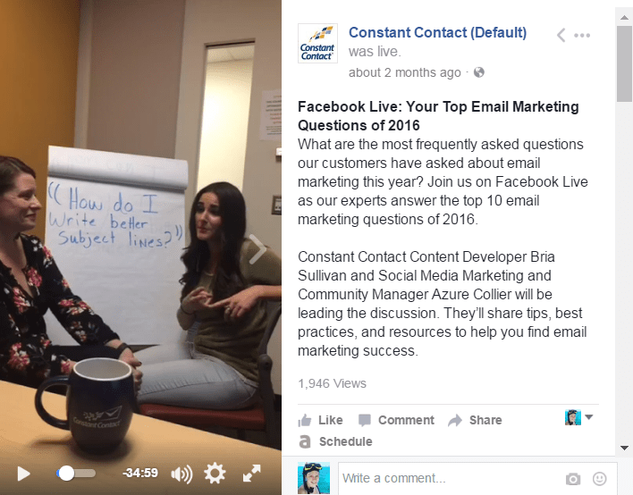 Constant Contact - Facebook Live